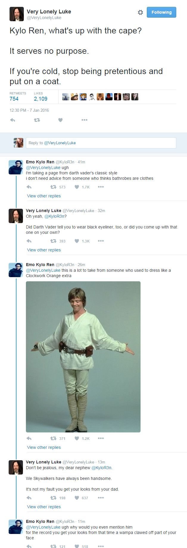 Twitter accounts @ VeryLonelyLuke (Very Lonely Luke) and @ KyloR3n (Emo Kylo Ren) converse and the results are glorious | Star Wars