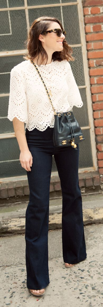Spring Eyelet Top Outfit Idea