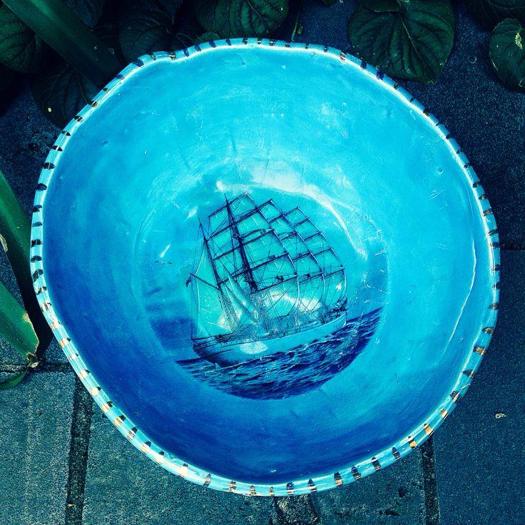 Handmade bowl with ship image