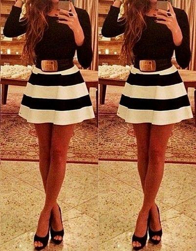 Vestido Negro y Blanco con Falda de Piqué
