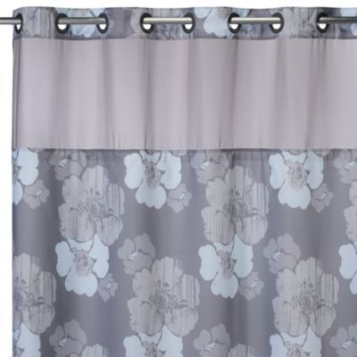 HooklessAR 71 Inch X 74 Hibiscus Floral Shower Curtain And Liner In