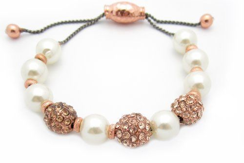Rose Gold Plated CZ Studded Design Beaded Cable Bracelet with Pearl Beads - Adjustable AMEX Jewelry. $11.99. Adjusts to Fit almost any size. Bead Size: 11 mm