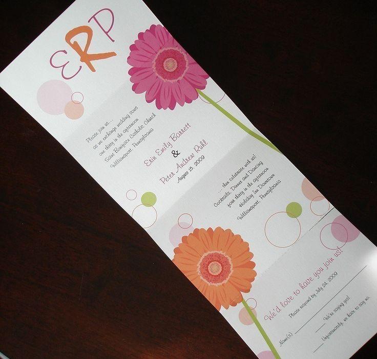 Pink Gerber Daisy Wedding Invitation, Seal Send Wedding Invitations, Simple  Unique Folded Invite, Summer Invitation, Fun Colorful Gerbera