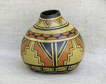 Southwestern Hand Painted Small Gourd Pot Geometric Design Southwest Pottery - Inspired #163