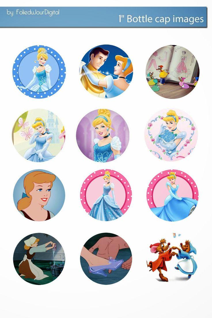 Free Bottle Cap Images: Cinderella disney free bottlecap images downloadable collage sheet