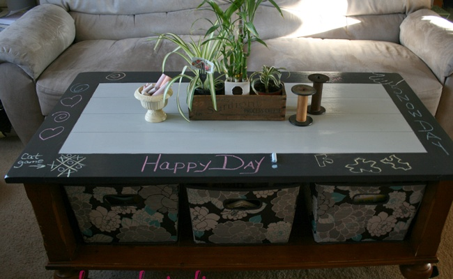 Fun Chalkboard Coffee Table Update with Casters. #diy #makeover
