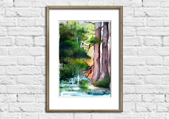 forest  trees   Watercolor Art Print  Wall Decor Home by ArtCCarol