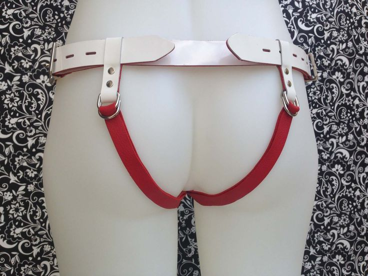 Leather strap-on harness - Saint - White, Red, Silver. Comes with various O'rings. Classic, Curvy or Custom size.   Wear like a Jock strap or G-string.