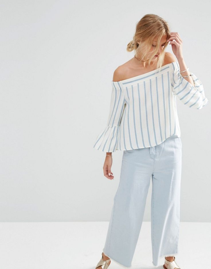 Image 1 of ASOS Stripe Off the Shoulder Top In Blue Stripe