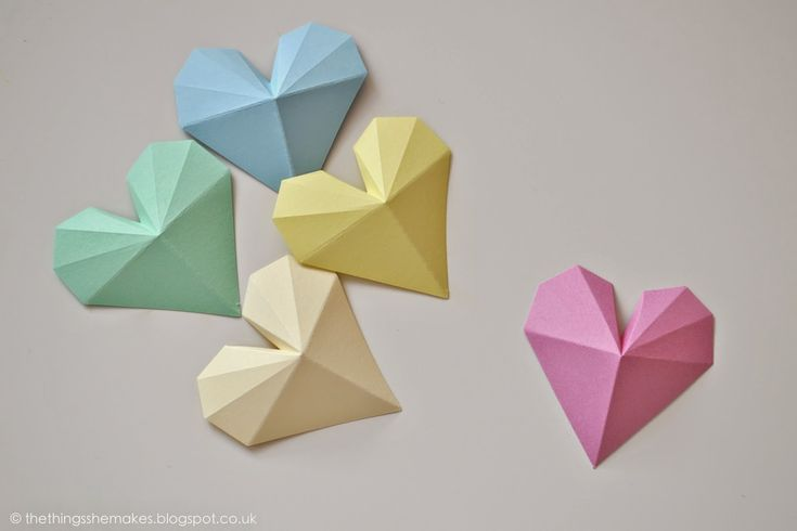 How to Make 3D Geometric Paper Hearts