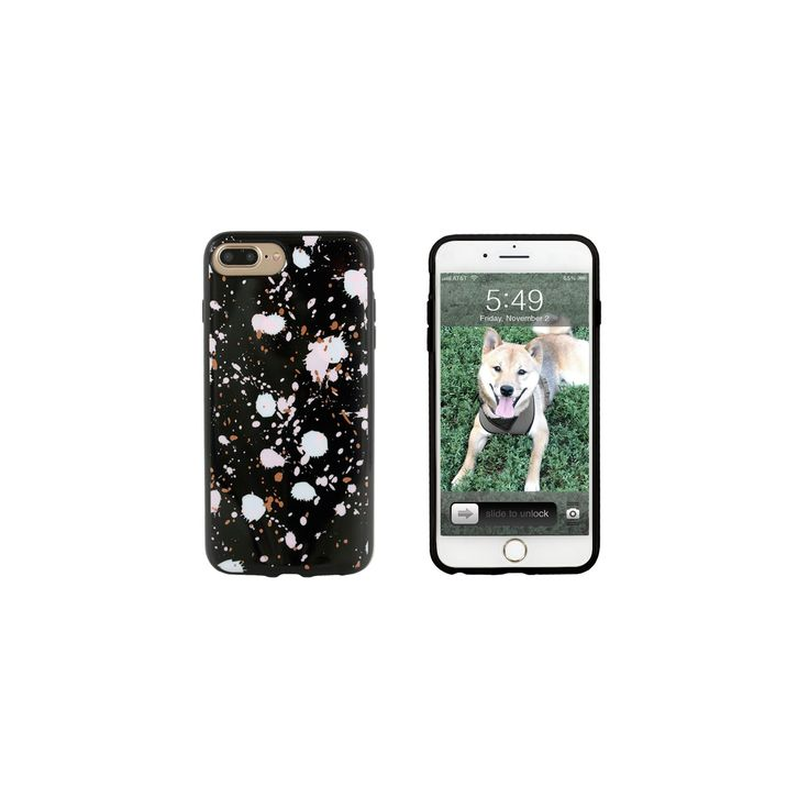 End Scene iPhone 8 Plus/7 Plus/6s Plus/6 Plus Case - Black Splatter Dots, Mint Green