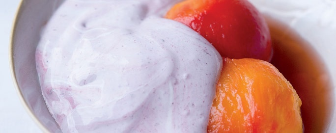 Verjuice-Poached Nectarines with Raspberry Spoom | Desserts & Baking | Recipes | Woolworths.co.za