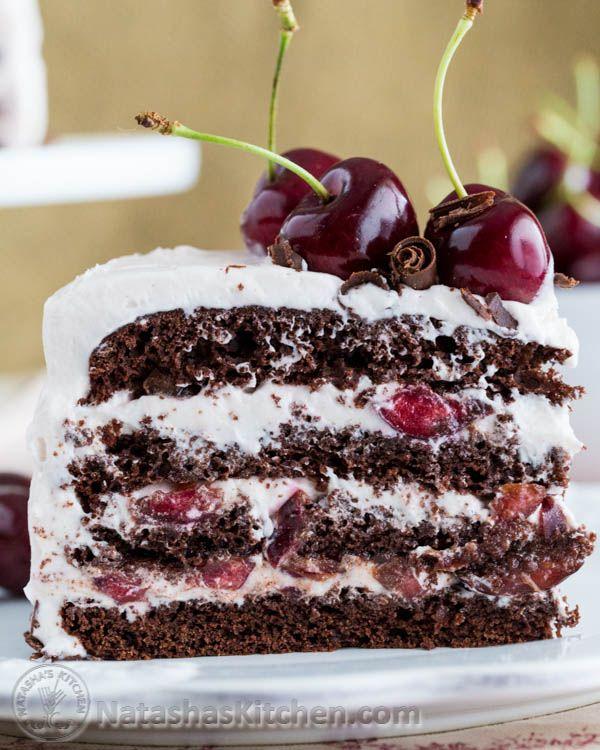 This cake is amazingly good; moist, chocolatey, boozy, and cherry-liscious! it's a winner! @OXO @NWcherrygrowers | Natashaskitchen.com