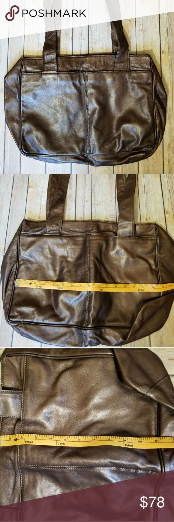 FRANCESCO BIASIA metallic brown leather tote Large bronze/ metallic brown leather tote bag. Snap closure with large zipper compartment within. Great basic neutral tote. Super soft leather. Great condition Francesco Biasia Bags Totes