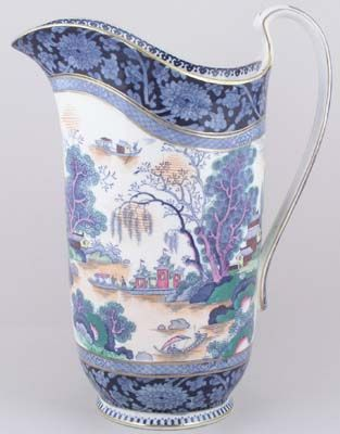 Booths - Ming blue with colour - Ewer c1920sEwers C1920S, Early Booths, Blues Blu, Ming Blue