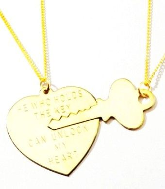 Key to My Heart Gold Necklace Set - Perfect Gold Necklace For Couple