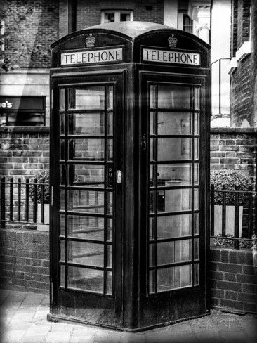 Old Black Telephone Booth on a Street in London - City of London - UK - England - United Kingdom Photographic Print by Philippe Hugonnard at AllPosters.com