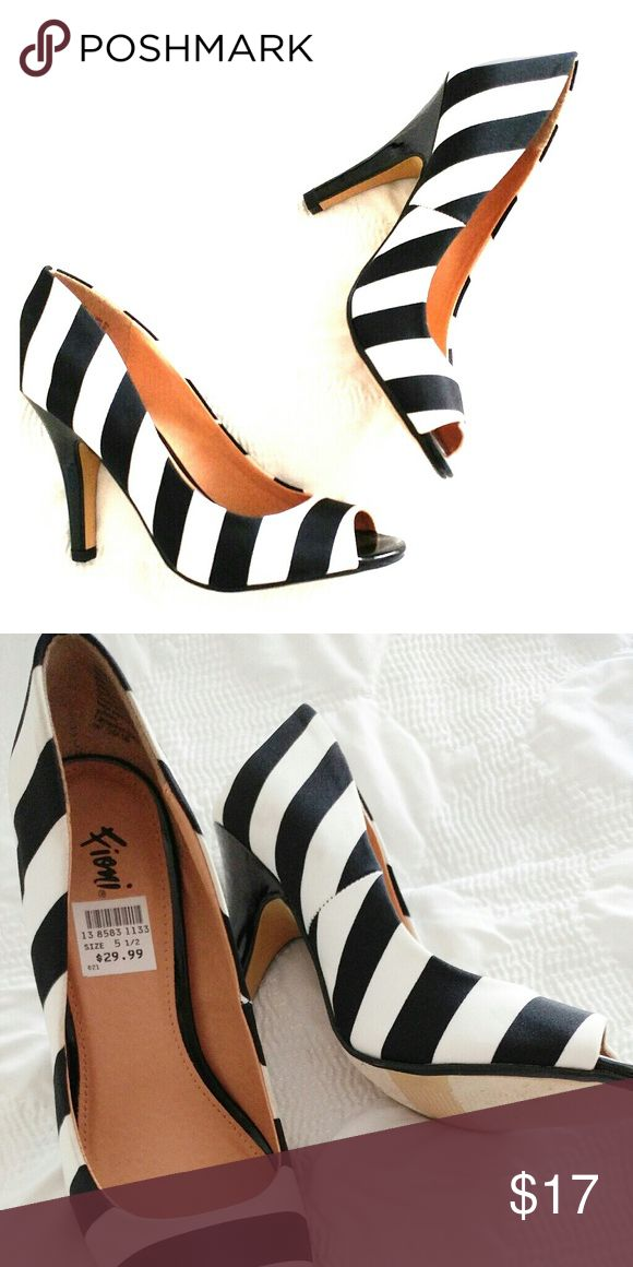 Striped Open Toe Heels Bold black and white stripes.  A modest 3 inch patent heel. FIONI Clothing Shoes Heels