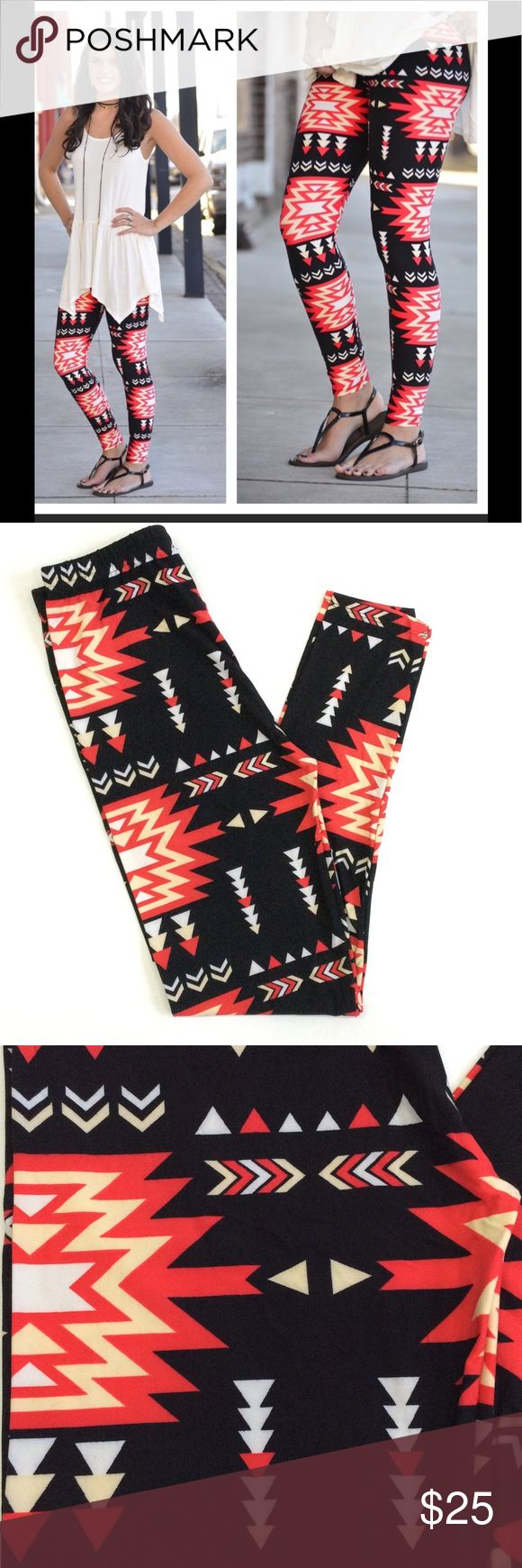 Infinity Raine Flaming Aztec Print Leggings Buttery soft lively aztec print leggings designed by Infinity Raine.  92% Polyester 8% Spandex.  One size fits sizes 2-12 comfortably. Infinity Raine Pants Leggings