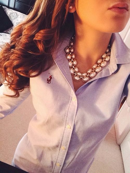 There's something so crisp & polished about a polo, & lavender is a beautiful colour too. Looks great with the necklace...also love!