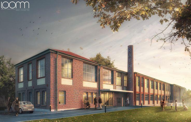170323_RiehleAssoziierte-Architekten-Rathaus-Gomaringen_Eingang.jpg Architecture Visualisation loomn 3D Visual Illustration Archviz Render Office Visualisierung
