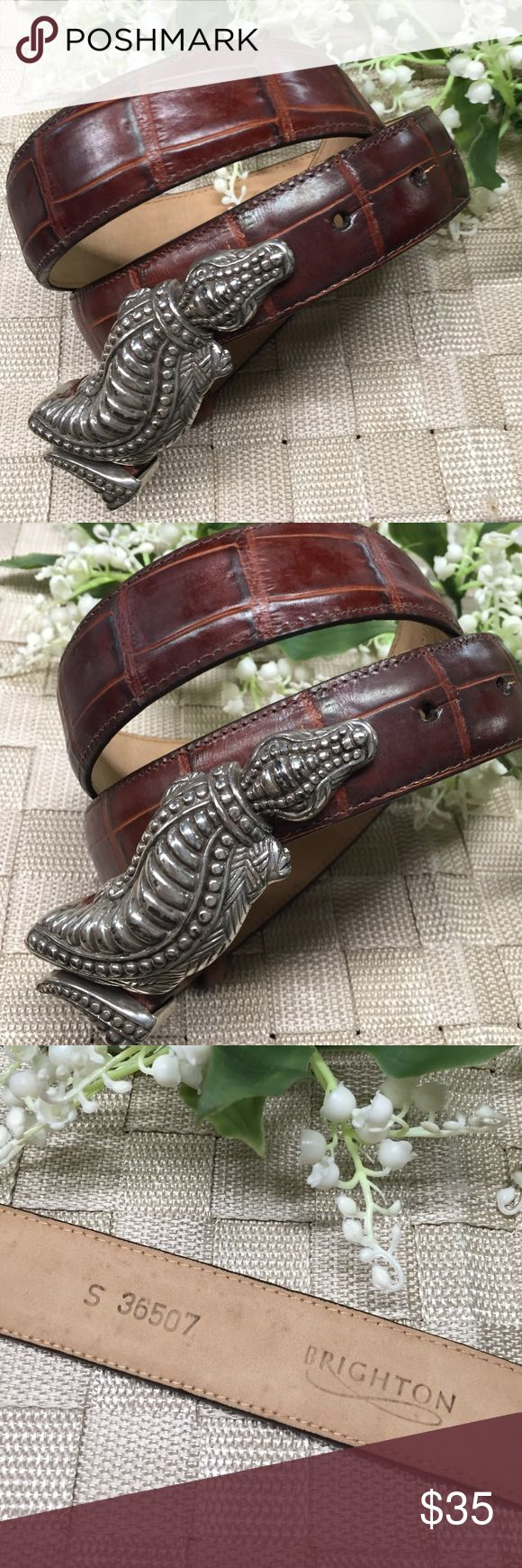 Brighton gorgeous leather alligator buckle belt. Beautiful Brighton belt. Rich textured dark brown leather. Distressed silvertone alligator buckle measuring 4 inches long. Fantastic  piece. Size S. Belt is 1& 1/4th wide by 34 inches long. Brighton Accessories Belts