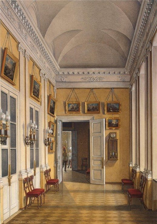 """Interiors of the Winter Palace. The Room between the Small Fieldmarshals Hall and the War Gallery"" by Edward Petrovich Gau (1807-1887)"