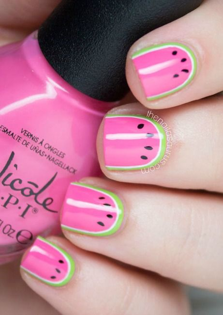 What could be better than a cool slice of watermelon on a hot summer day? Watermelon nail art, of course. Impress your friends with this adorable look that makes your hands stand out.
