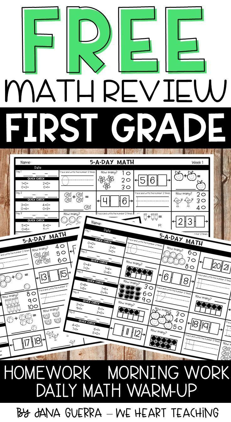 5 a Day Math   1st Grade Spiral Math Review   3 Weeks FREE   Math review [ 1344 x 736 Pixel ]