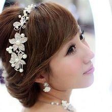 1ks Silver Crystal drahokamu Pearl čelenka Wedding Party Prom Tiara čelenky Svatební vlasové doplňky Květinové dívky Hairwear (Čína (pevninská část))