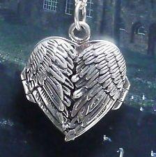 wunderschönes Herz Medaillon zum öffnen 925Silber Handgeschmiedet Engelsflügel