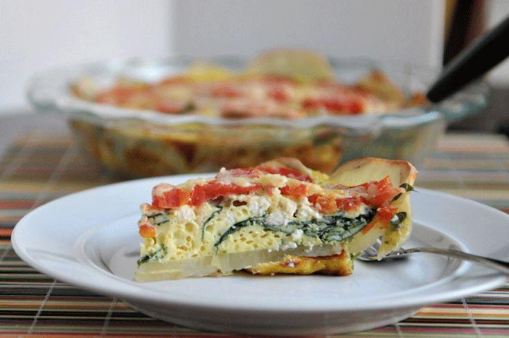 Spinach, Feta, and Tomato Quiche