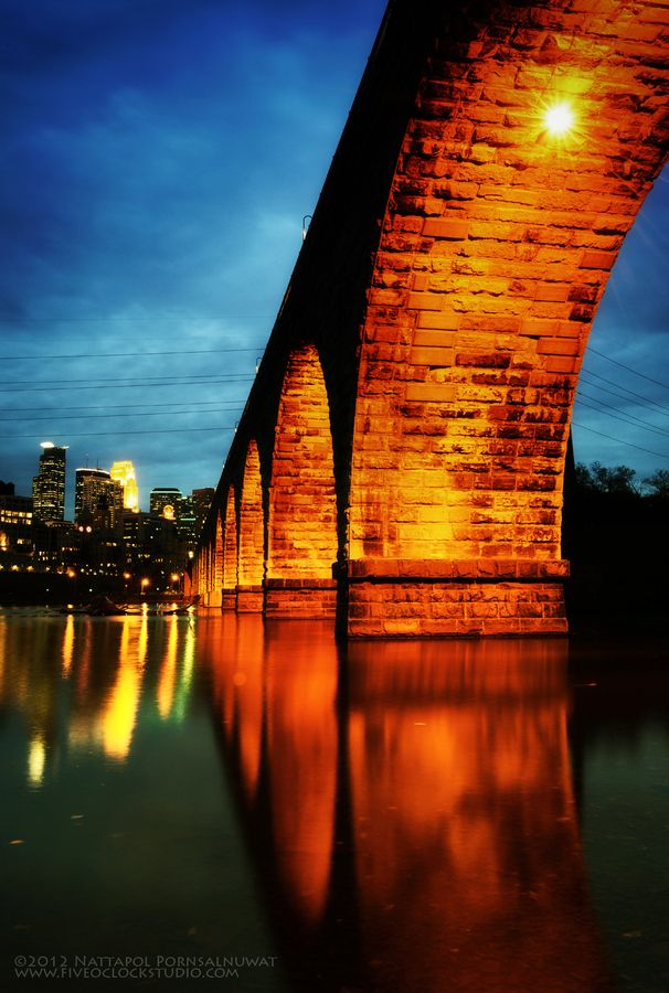 Stone Arch Bridge in Minneapolis - by Nattapol Pornsalnuwat
