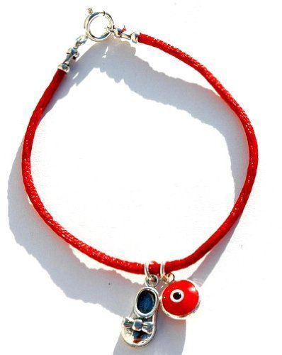 """Kabbalah Red String Baby Shoe Good Luck Bracelet Evil Eye Charms MIZZE Made for Luck Jewelry. $39.00. The bracelet is standard 7"""" long. All charms are 925 Sterling Silver. Includes a Baby Shoe silver charm and Red Evil Eye protection charm. A beautiful red silk charm bracelet"""