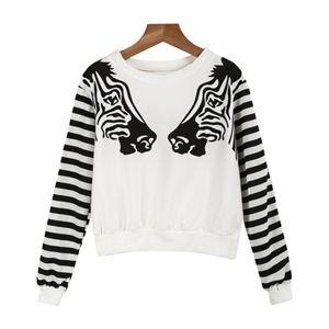 White Long Sleeve Zebra Print Sweatshirt | pariscoming