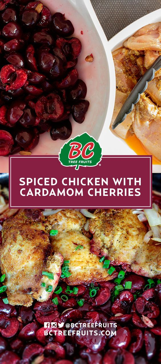 Spiced Chicken with Cardamom Cherries | Sweet cherries and Indian spices combine to create this unique summer-fruit eating experience.
