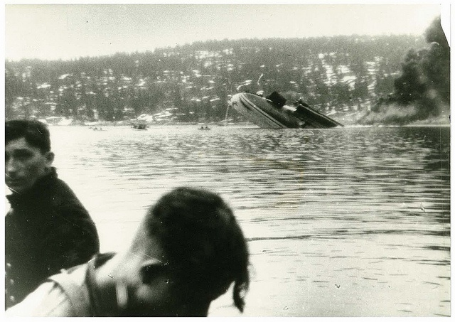 The German battleship Blücher sinking during the German invasion of Norway in April 1940.