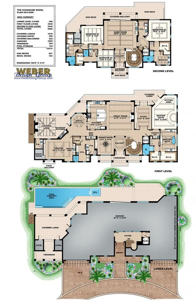 Coastal floor plan oceanside house 6 bed 4 full bath for Half bath floor plans