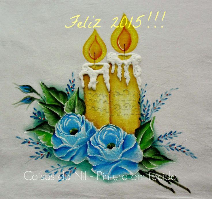 Coisas da Nil - Pintura em tecido: Feliz 2015, um ano de graça e luz!!!!