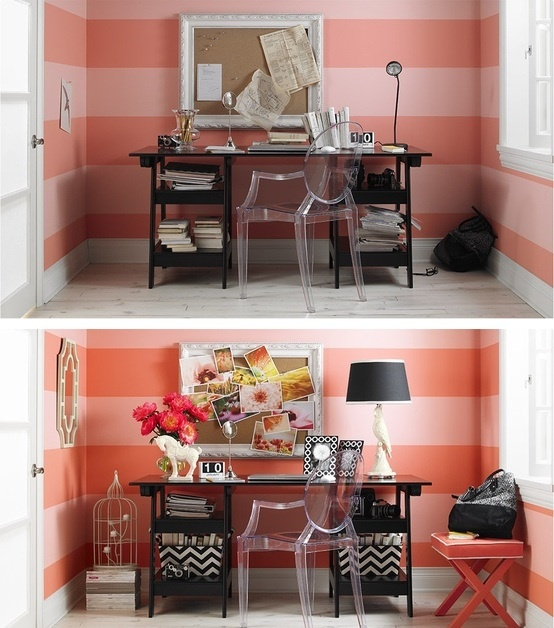Updated office with colors that pop. #BeforeandAfter #Office