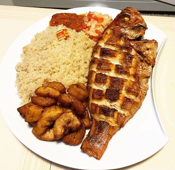 Attieke, alloco and baked fish