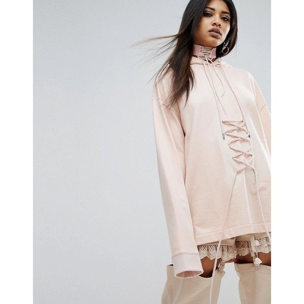 Puma X Fenty Graphic Lacing Hoodie ($245) ❤ liked on Polyvore featuring tops, hoodies, pink, tall hoodies, puma hoodies, oversized hoodies, pink hooded sweatshirt and graphic hoodie