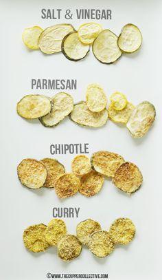 Zucchini Chips auf 4 Arten - Zutaten in einer Schüssel anrühren und dünn geschnittene Zucchinis darin wälzen. Bei Parmesan und Curry die Zucchinis kurz in Sonnenblumenöl legen, damit die Zutaten haften :)