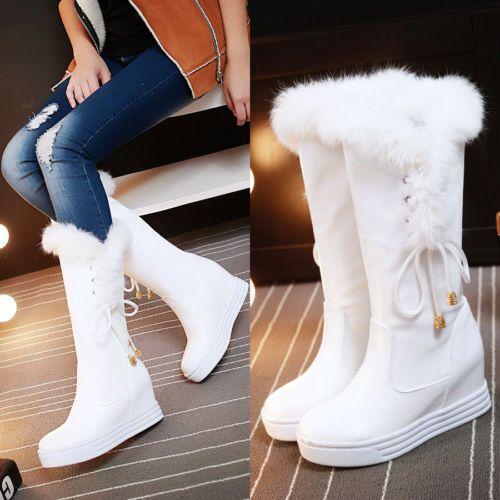 NEW Womens Faux FUR Snow Winter Hidden Heel Warm САПОГИ Shoes MID Calf Boots SZ | eBay