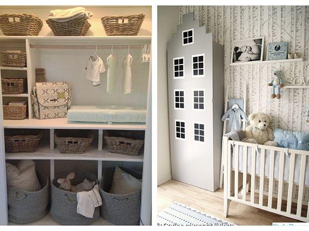 Love this changing area!!  its in a closet! perfect!  nursery decoration / decoracion para pieza de bebe