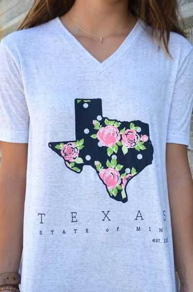 Put a little pretty on your tee! The Polka Texas Tee is complete with florals and dots on a super soft t-shirt. - Graphic reads: Texas State of Mind Est. 1845 - Texas design printed on a light heather