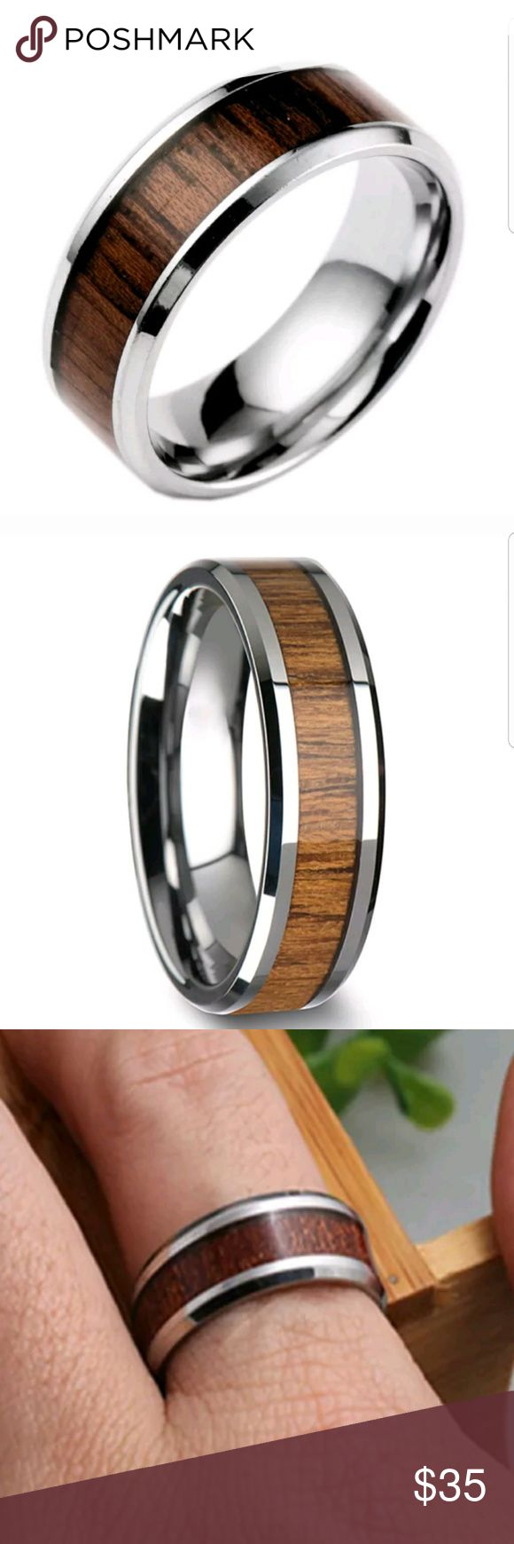 Men's  Silver and Wood Inlay Ring 9 , 10 STAINLESS  SILVER WITH WOOD INLAY SIZE 9, 10 AprilsPlace Accessories Jewelry