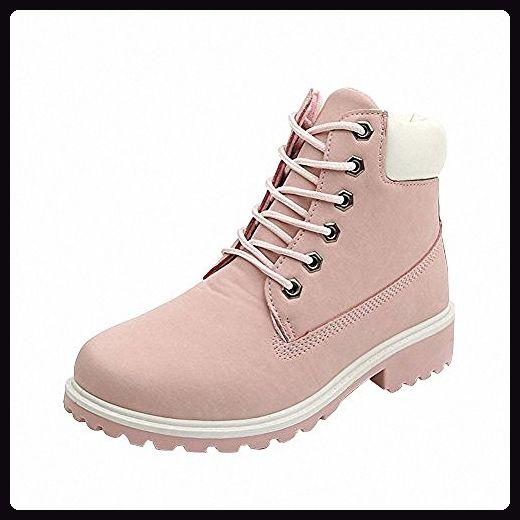 Damen Worker Boots Plüsch mit Gefütterte Winterstiefel warme Stiefel Schöne Prinzessin Rosa, Gr.  38 - Stiefel für frauen (*Partner-Link)