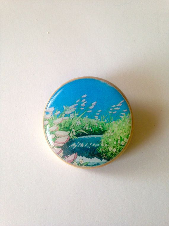 howl's moving castle flower stream scenery landscape handmade pinback pin button