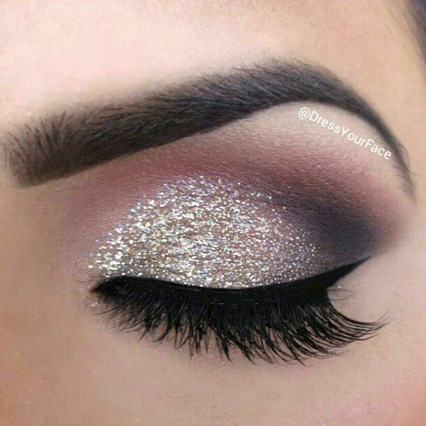 ✧ ✴ GLITTER OBSESSION ✧ ✴ Inglot Body Sparkle in Silver XL and MAC's  eyeshadows to give a soft yet fully pigmented effect. Black liner from Inglot, then topped with NYC Liquid Liner for added definition. Brows filled with @anastasiabeverlyhills Brow Wiz.   @Crystal Lopez